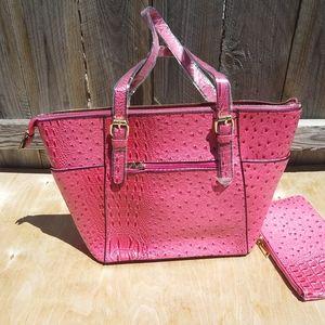 ALYSSA OSTRICH TOTE SHOULDER BAG WITH CLUTCH